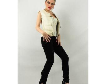 Vintage leather vest / 60's Mod fashion / White leather buckle front waistcoat S M