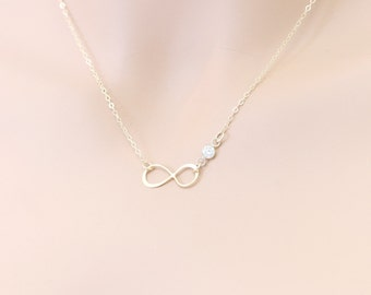 Infinity CZ Bezel Necklace Gold Mother of the Bride or Groom, Weddings, Maid of Honor