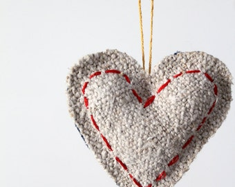 Heart Ornament, homespun linen and denim