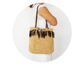 BAG // Beige Velvet Shoulder Bag Boho BagTriangle Bag Tribal Bag Summer Bag Hand Bag Handmade Bag Hobo Bag