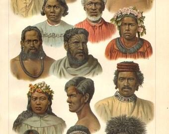 1902 Oceanic Race of Human II. Micronesians, Polynesians Original Antique Chromolithograph to Frame