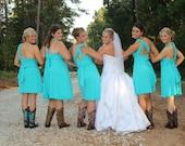 Teal Blue Convertible Dress Knee Length or Floor Length - 37 Colors - Bridesmaids, Wedding, Honeymoon, Destination Wedding