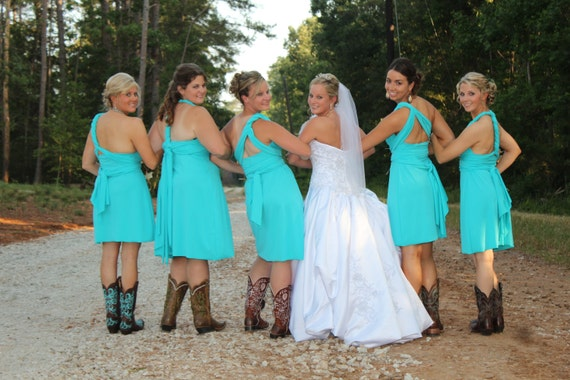 Teal blue convertible dress knee length or floor length 37 for Bright colored wedding dresses