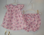 Baby Dress & Panties Set, Dress Pink Floral, Polyester Print, Newborn Size, Ready to Ship