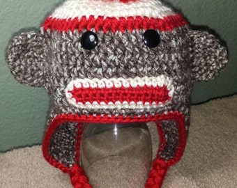 Sock Monkey Earflap Hat for Child to Adult