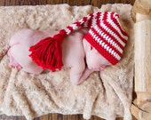 Christmas Photo Prop Hat, Elf Stocking Crochet Red and White Striped with Tassel, Newborn Elf Photo Prop Hat, Newborn to 3 Month Size