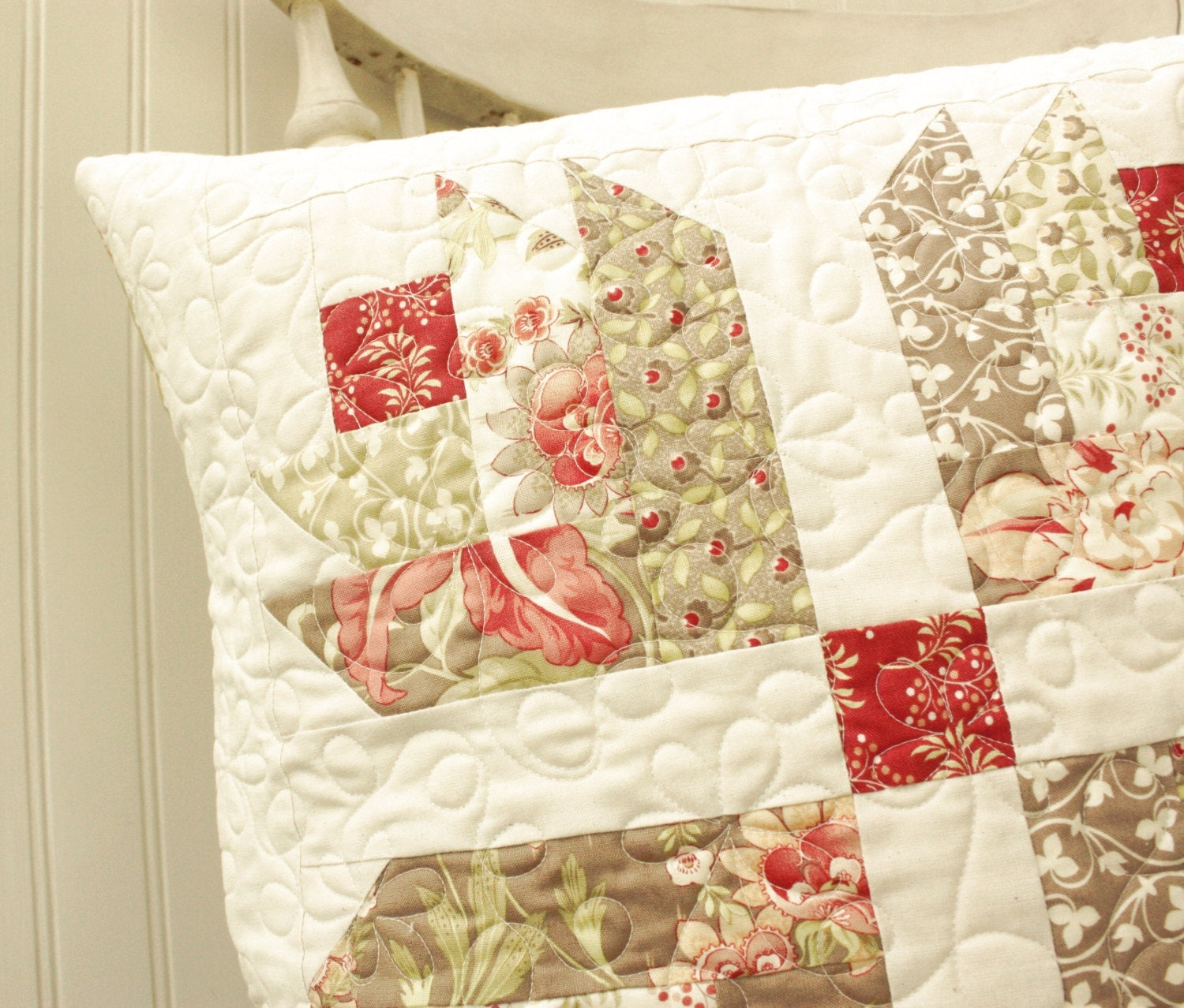 Quilted Decorative Pillow Covers : Tapestry Quilted Pillow Cover READY TO SHIP by CottonBerryQuilts