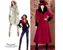 Princess Seam Coat Pattern Uncut Simplicity 1732 0877 Arkivestry Victorian Steampunk Jacket Costume Fur Collar Coat Womens Sewing Patterns