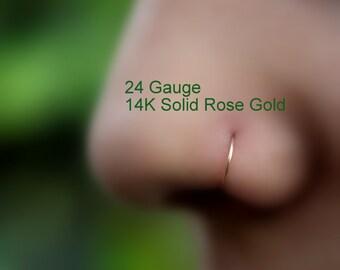 Nose Piercing - Nose Ring - Tragus Piercing - Helix Piercing - Cartilage Piercing - 14K Solid Rose Gold 24 - 16  Gauge 7mm Inner Diameter