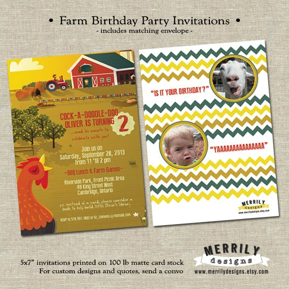 Items Similar To Farm Themed Birthday Party Invitations Boy Or Girl Country