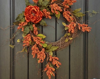 "Fall Wreath Autumn Thanksgiving Orange Berry Twig Grapevine Door Wreath Decor """
