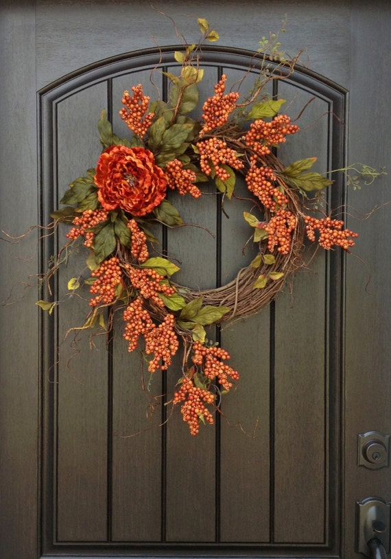 Fall wreath autumn thanksgiving orange berry twig grapevine for Diy thanksgiving door decorations