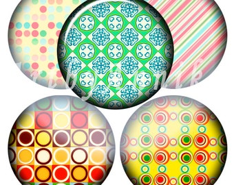 Digital Collage of Bright paterny N2 - 63 1x1 Inch Circle JPG images