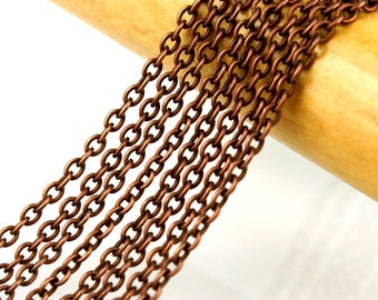 Copper Chain : 16 feet Antique Copper Cable Chain / Oxidized Copper Cross Chain ... 3mm x 4mm x .7mm ... Lead, Nickel & Cadmium Free 44831