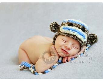 Sock Monkey Hat Newborn size perfect for photo prop boy FREE SHIPPING