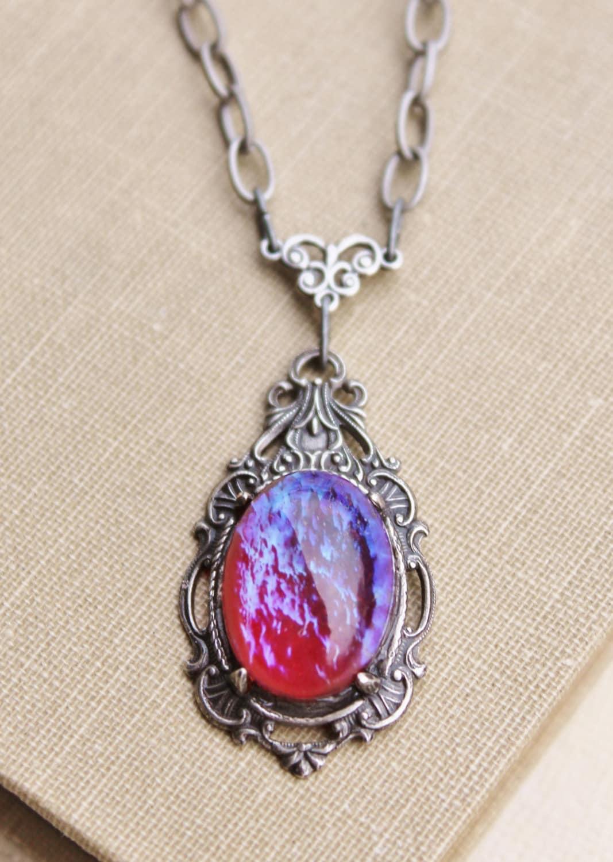 vintage dragons breath opal pendant necklaceantique