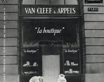Original Midcentury Poster Ad - Van Cleef and Arpels Jewelry Boutique 1955 Place Vendome Paris