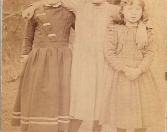 Original 1880s Antique 4x5 Photo Sepia Toned  3 Children Outdoors with Hats and Period Attire