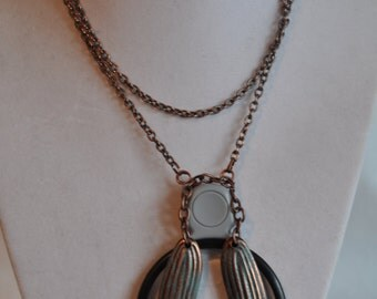 """26"""" Metal Pendant Necklace on a Copper Chain, necklace, pendant, copper chain, magnifying glass"""