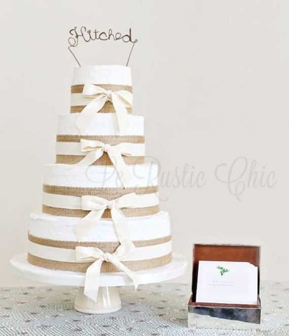 Wedding Cake Topper Wire Cake Topper Hitched Cake Topper