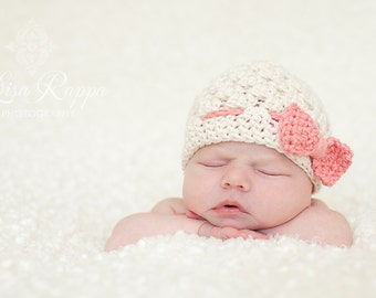 Blissful Baby Bow Hat, Cream and Pink, Newborn photo prop