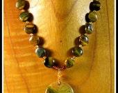 Chunky Carrasite Jasper, Tiger Eye, Oregon Fire Opal, and Hessonite Garnet Pendant Necklace