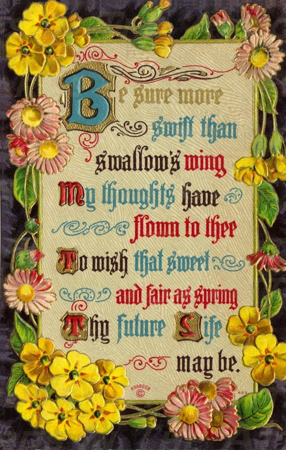 Best Wishes Verse Poem flowers - Antique Postcard -  Digital Hand Designed Art - Scrapbooking, Card Making & Craft - PRINTABLE DOWNLOAD