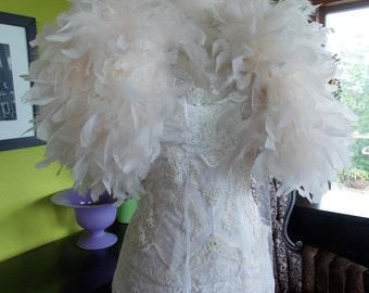 Wedding dress feather bolero capelet shawl wrap ivory stole cape bolero