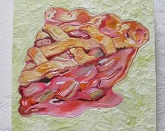Original Encaustic Painting 1950s Rhubarb Pie