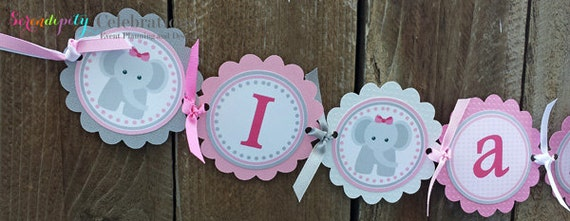 Pink Grey Elephant Collection: High Chair Banner -Photo Prop -High Chair Bunting -1st Birthday -Small Banner -Elephants
