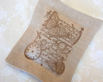 Lavender Sachet, Clocks and Old World Script w/ Butterflies on Linen (Gifts under 10 dollars) Fresh Dried Lavender