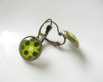 Earrings Retro Green spotty dots - Colour fun Earrings in Antiqued Brass or Silver