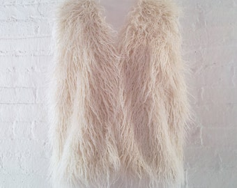 Faux Fur Vest Small 90s Vintage Fake Fur Natural Beige Boho Hippie Festival Grunge Minimalist Club Kid Glam Rock Burningman Vegan Fur Vest