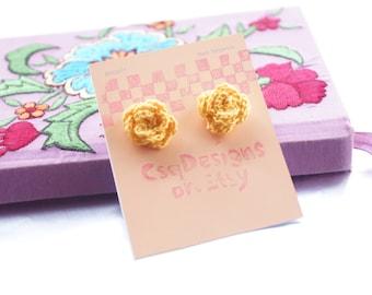 Crocheted Rose Earring Studs / Yellow