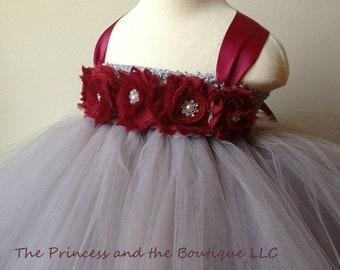 flower girl dress, gray flower girl dress, burgundy flower girl dress, gray girls dress, burgundy girls dress, gray tutu dress