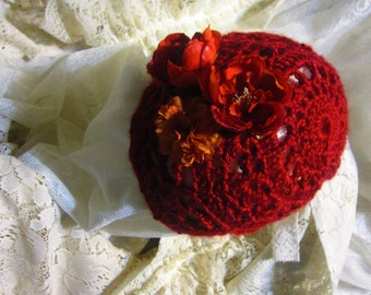 Medium Crocheted Red Flowered Beanie Hat