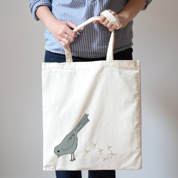 Illustrated Grey Blue Bird Canvas Tote Bag Shopper Drawstring Bag