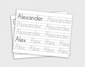 Custom Printable Name Tracing Pages -- Learn to Write, Tracing Sheets ...