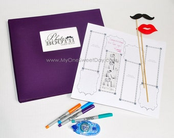 Photo booth Scrap Book Wedding Guest Book Vintage Mustache Purple  wedding theme