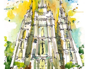 Salt Lake City, Salt Lake Temple, LDS Temple, Utah - archival fine art print from an original watercolor sketch