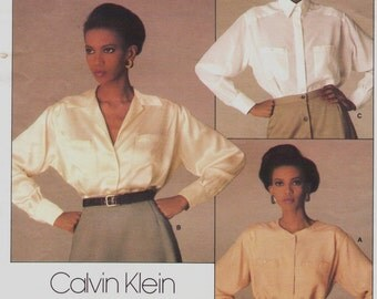 80s Calvin Klein Womens Blouse with Variations Vogue Sewing Pattern 1455 Size 12 Bust 34 UnCut Suit Blouse Pattern American Designer