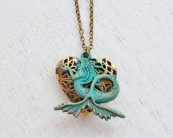 Mermaid Locket Necklace, Siren's Call Locket Pendant, Ocean Goddess, Locket Jewelry, Ocean Necklace, Friend Present, Heart Jewelry, Chistmas
