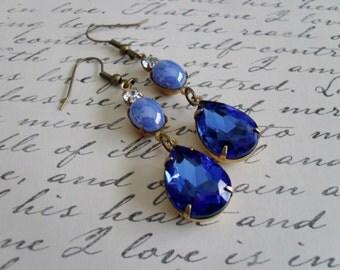 BEAUTIFUL BLUES Vintage Rhinestone & Glass Drop EARRINGS / Swarovski / Estate Style  / Vintage Rhinestone / Dangle / Something Blue Earrings