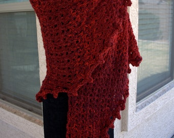 PDF DIGITAL PATTERN:Boucle Crochet Shawl Pattern, Easy Crochet Shawl Pattern, Red Shawl, Chunky Shawl Pattern, Crochet Wrap Pattern