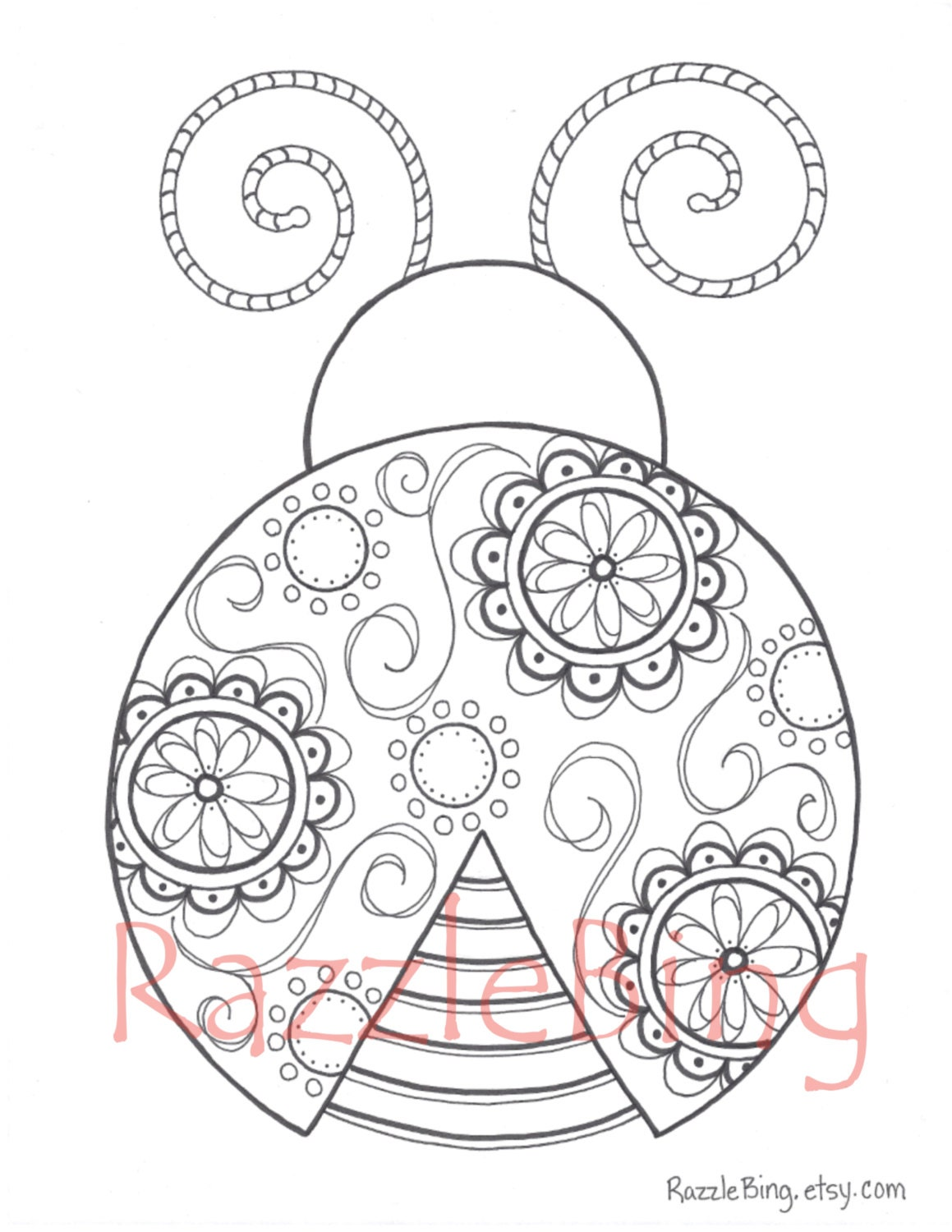 diy printable coloring page zentangle inspired lady bug