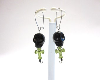 Sugar Skull Earrings Day Of The Dead Black Green Cross