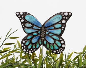 butterfly garden art - plant stake - garden decor - butterfly ornament  - ceramic butterfly - monarch - turquoise