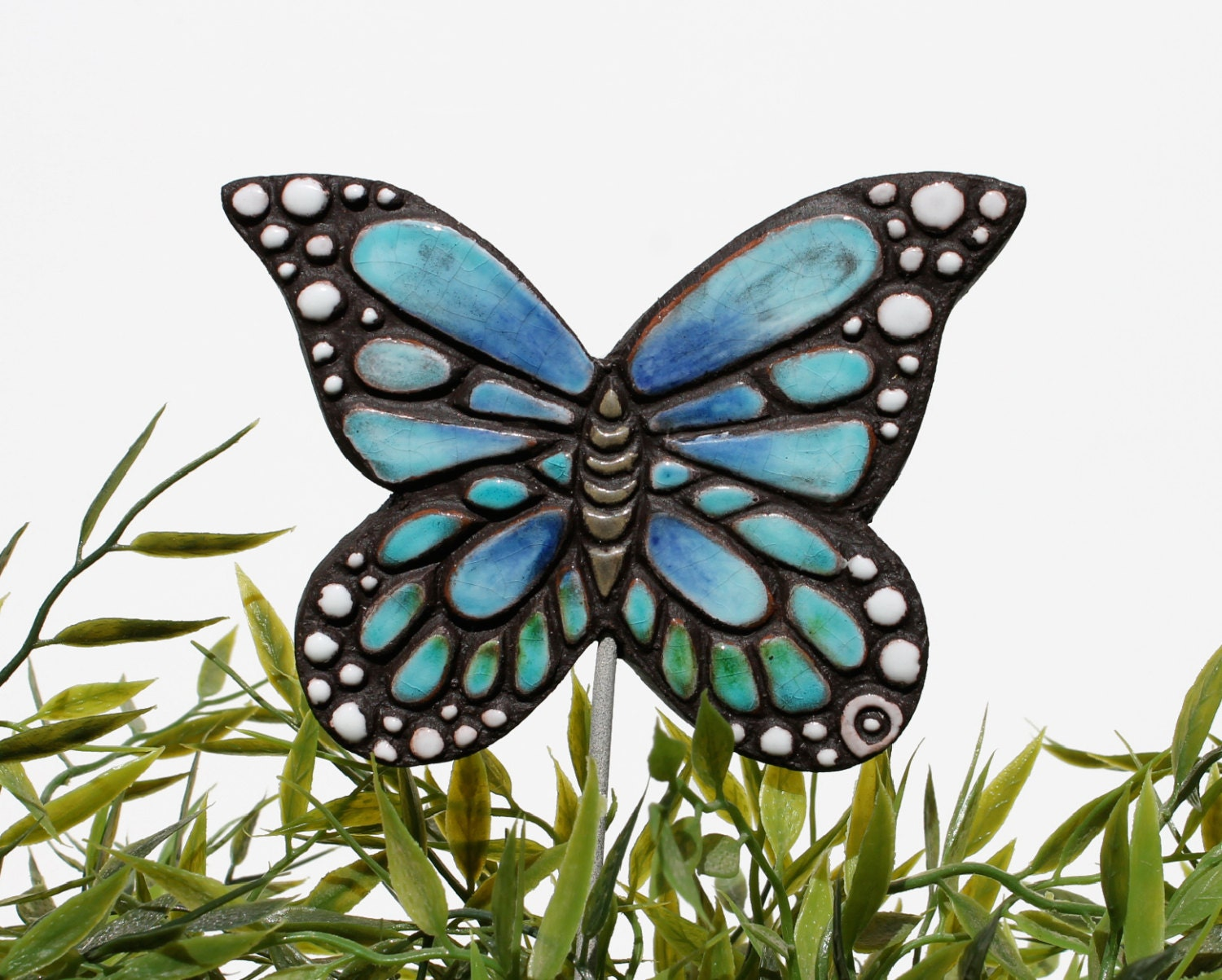 Butterfly garden art plant stake garden decor butterfly for Outdoor butterfly decor