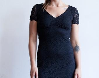 VTG 80s Black Lace Bodycon Dress S
