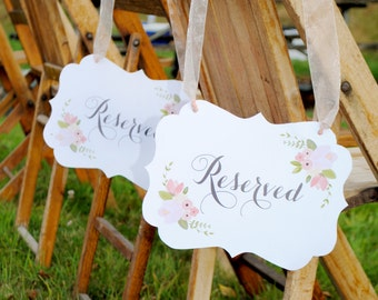 INSTANT DOWNLOAD Rustic Floral Reserved Place Card Signs - PRINTABLE Wedding by Itsy Belle